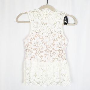 EXPRESS sleeveless lace peplum top